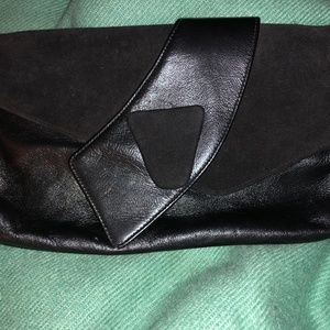 Gorgeous deco looking black leather suede clutch b